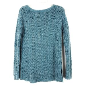 LOFT Blue Open Stitch Pullover Sweater sz Medium